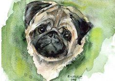 Pug watercolor