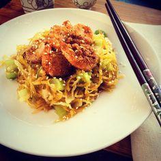 Spaghetti squash chow mein with garlicky black pepper shrimp