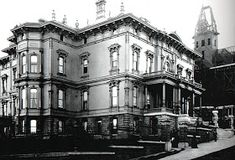 Mansion of Gov. Leland Stanford, Nob Hill, c. 1890 Stanford, one of the 'Big Four' who built the Union Pacific Railroad. Mansion was destroyed by fire in 1906 San Francisco Girls, Mansion Interior, Mansion Bedroom, San Pablo, Modern Mansion, Mansions Homes, The Big Four, Victorian Architecture, Historic Homes