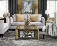 Gray and gold living room.  Pauline Sofa from Z gallery
