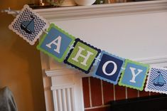 Ahoy Its A Boy Banner, Nautical Baby Shower, Sailboat Banner, Nautical Baby Shower, Navy, Blue, Lime on Etsy, $25.00