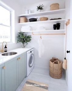 Home Interior Industrial 35 Elegant Laundry Room Design Decor Ideas laundryroom laundryroomdesign la animal Modern Laundry Rooms, Laundry Room Layouts, Laundry Room Shelves, Laundry Decor, Laundry Room Organization, Laundry In Bathroom, Basement Laundry, Organization Ideas, Ikea Laundry Room