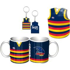 Adelaide Crows Guernsey Giftpack.  This Great Pack Features: Guernsey Design Mug, Keyring, & Stubby Cooler.  To see the full range of AFL merch, visit www.shop.afl.com.au
