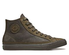 """PF Flyers Center Hi in brown leather.   """"Only one kid in history had ever attempted... what Benny was about to, and he got eaten. So we were worried -- real worried -- even when Benny brought out the secret weapon: shoes guaranteed to make a kid run faster and jump higher, P.F. Flyers."""" - The Sandlot"""