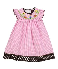 0cc674c852c Lil Cactus Pink Gingham Scarecrow Bishop Dress - Infant