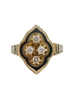 This is a gorgeous 14 karat yellow gold, diamond, and black enamel ring, made in the Victorian Era. The face is a round-edged diamond shape and is adorned with four prong-set, brilliant cut diamonds. A Greek Revival Home Revamped || TheHighBoy || #highboystyle #antiquesmakeitbetter #antiques #vintage #jewellery