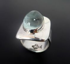 Sterling Silver Aquamarine Ring Handmade  Silver by fishsilver