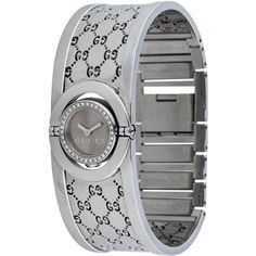 Pre-owned Gucci Diamond Twirl Collection Watch ($1,125) ❤ liked on Polyvore featuring jewelry, watches, diamond bezel watches, pre owned watches, bracelet jewelry, diamond jewelry and gucci bracelet