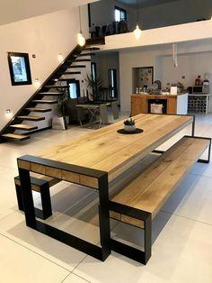 table ideas for your interior concept metal wood accompanies you # . - table Ideas for your metal-wood interior concept will accompany you ta - Welded Furniture, Home Furniture, Furniture Design, Industrial Furniture, Furniture Stores, Industrial Vintage, Laminate Furniture, Industrial Bedroom, Deco Furniture