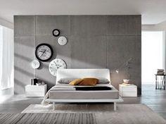 Cama doble de piel imitación con cabecera tapizada LONDON - Doimo CityLine