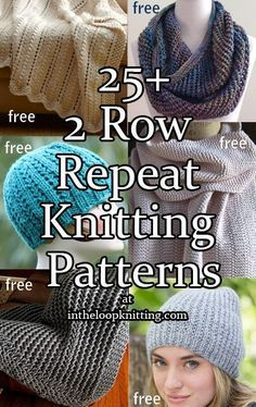 Knitting Patterns with 2 Row Repeats. Most patterns are free
