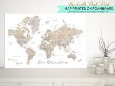 Personalized world map with cities in watercolor style, as a foamcore print to be used as push pin board, Abey