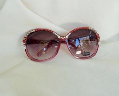 Check out Hand designed Swarovski Crystal Sunglasses. Red Plum Oversize Lenses with Sparkling Clear Square, Clears, Grey and Red Crystals on jamaartbeads