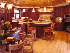 Layout, cherry cabinets and deep red accents