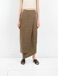 Creatures of Comfort Izak Skirt - Oiled Linen Olive