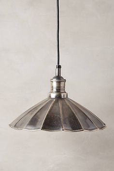 Scalloped Brass Pendant Lamp