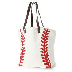eae9aa0806 Knitpopshop Baseball Canvas Tote Bag Handbag Large Oversized