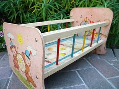 Adorable Vintage Toy Doll Cradle with Bell-