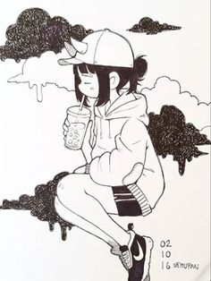 Black bun, sweatshirt, and Nikes Cartoon Kunst, Cartoon Art, Art And Illustration, Cute Drawings, Drawing Sketches, Anime Quotes Tumblr, Anime Body, Anime Pokemon, Anime Plus