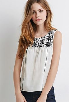 Floral-Embroidered Peasant Top   Forever 21 - 2049257484 in blue