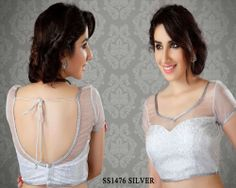 Silver Net Fabric Saree Blouse