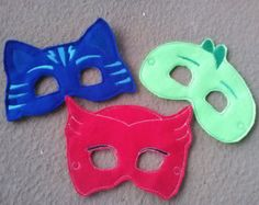PJ Masks inspired masks by RayasBowtique on Etsy 4th Birthday Parties, 5th Birthday, Diy Piñata, E 7, Pj Mask, Mask Party, Superhero Party, Make And Sell, Handmade Gifts