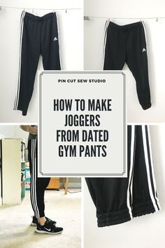 Learn how to make joggers from gym pants! I turned these thrifted Adidas pants into more modern style joggers and put together an easy sewing tutorial on how I did it. || Pin Cut Sew Studio #sewing #pants #joggers #easysewing #refashion #upcyle Gym Pants, Adidas Pants, Sewing Blogs, Sewing Tutorials, Thrift Store Refashion, Quilted Coasters, Fall Sewing, Best Masks, Fashion Joggers
