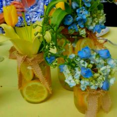 Centerpieces from Liv and Charlie's wedding. Mason jars filled with water and lemons, tied with burlap and filled with fragrant flowers. Used three sizes of jars per table High Top Tables, Grad Parties, Mason Jars, Glass Vase, Burlap, Centerpieces, My Style, Water, Party