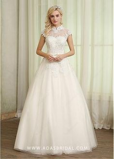 Romantic Tulle High Collar Neckline A-line Wedding Dresses