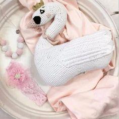 Swan Knitted Cushion