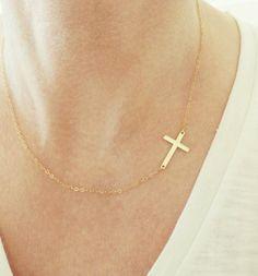 14k Gold Sideways Cross Necklace  Gold by MinimalModernandMe