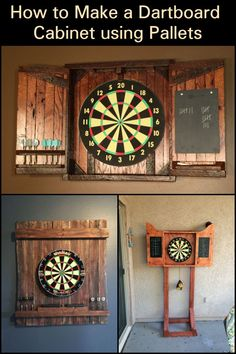 Easy Woodworking Projects Hit the Bullseye with this DIY Dartboard Cabinet made from Recycled Pallets - Make a dartboard cabinet with old pallets. Old Pallets, Recycled Pallets, Wooden Pallets, Easy Woodworking Projects, Diy Pallet Projects, Wood Projects, Pallet Ideas, Pallet Crafts, Woodworking Classes