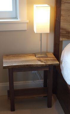 Live Edge Sofa Table | LIVE EDGE MYRTLEWOOD & WALNUT BEDSIDE TABLE - Witness Tree Studios in ...
