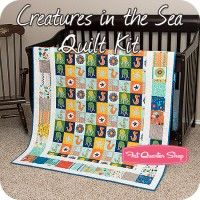 Creatures in the Sea Quilt Kit Featuring In the Ocean By Lesley Grainger for Riley Blake Designs #intheocean #quiltkit #lesleygrainger #rileyblakedesings #nautical
