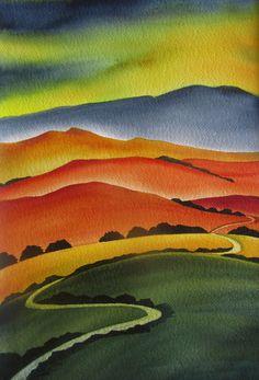 Over the Hills and Far away by Raewyn Harris www. Landscape Art Quilts, Watercolor Landscape Paintings, Abstract Watercolor, Landscapes, New Zealand Art, Nz Art, Art Calendar, Mountain Art, Contemporary Abstract Art