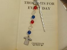 Fish Bookmark with Red White and Blue Crystals by OswestryJewels