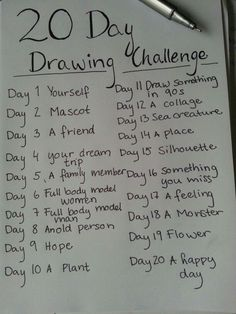 Drawing Doodles Sketchbooks Just some daily drawing challenges. ^~^ you guys are free to take the pictures and do them, I . Sketchbook Challenge, 30 Day Drawing Challenge, Journal Challenge, Art Sketchbook, Expression Challenge, Oc Challenge, Challenge Ideas, Sketchbook Inspiration, Drawing Prompt