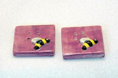 Bee Square Ceramic Buttons Iris Purple @Michelle Brungardt Weigel #dteam