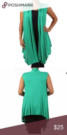 Plus Green Sleeveless Vest Cardigan Wrap NEW A MUST HAVE!!  Featuring a soft rayon spandex open sleeveless cardigan vest. Flowly asymmetrical cut. Ruched at the top in the backside. This top can pretty much be layered over almost anything.   Made of: 94% Rayon & 6% Spandex Tops