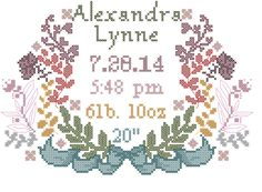 A personal favorite from my Etsy shop https://www.etsy.com/listing/198052467/counted-cross-stitch-baby-girl-birth