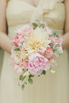 Pink dahlia + peony bouquet: http://www.stylemepretty.com/2013/07/31/west-hollywood-wedding-from-onelove-photography/ | Photography: One Love - http://www.onelove-photo.com/