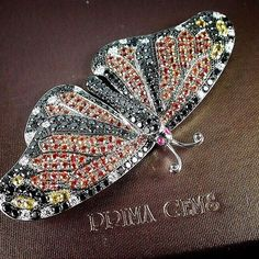 The Glamour Orange Sapphire Butterfly, bright and shine from #PrimaGems…
