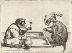 Twee apen spelen triktrak, (Two monkeys playing backgammon), Quirin Boel and David Teniers, engraving, 1635