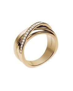 Michael Kors Pave Interwoven Ring, Golden.