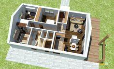 Nízkorozpočtový projekt domu bungalov na úzke pozemky Plans Loft, Home Design Floor Plans, House Design, Flooring, How To Plan, Bedroom, Home Plans, Home Layouts, Type 1