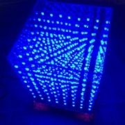 8 x 8 x 8 LED Cube 3D8 Light Square Blue LED Electronic DIY Kit with Welded PCB Board + Fog Blue Round Lamp