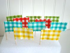 Picnic Gingham Cupcake Toppers fabric mini by PaisleyHandmade, $12.00