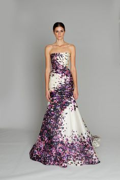 Floral purple and white wedding dress pattern for a daring bride