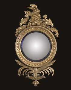 A WILLIAM IV GILTWOOD CONVEX MIRROR  SECOND QUARTER 19TH CENTURY  With a button decorated surround and reeded ebonised slip, surmounted by a foliate and rockwork cresting and a winged dragon and with an apron of spreading palm leaves. Convex Mirror, Wood Mirror, Mirror Mirror, Antique Mirrors, Venetian Mirrors, My Furniture, Antique Furniture, Homemade Home Decor, Wardrobe Cabinets