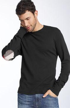 [AM] Burberry Brit Trim Fit Elbow Patch T-Shirt | Nordstrom